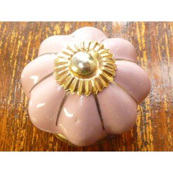 Porcelain knobs pink filet gold