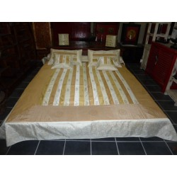 Parrure bed striped taffeta Ecru and coffee