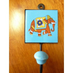 8x8 cm hook right blue-brown Elephant