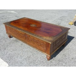 coffee table carved rosewood and brass