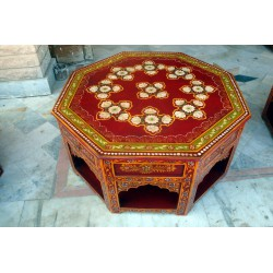 Table octogonale flowers reds 4 drawers