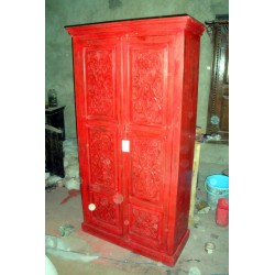 cabinet carved flowers red poncée
