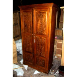 cabinet carved flowers patine teak
