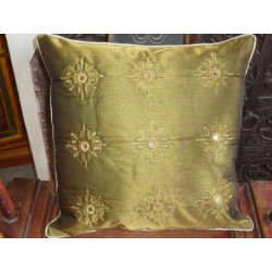 Cushion cover 40X40 arabesques miroirs green bronze