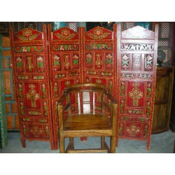 Screen / headboard (red flower carved)