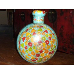 water jar hand painting a flowers round (MM)