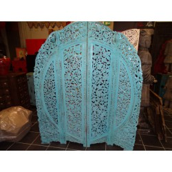Round Screen sanded turquoise flowers