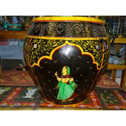 water jar hand painting Ganesh black