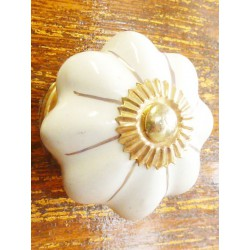 Porcelain knobs white filet gold