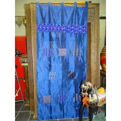 Taffeta curtains with blue patchwork
