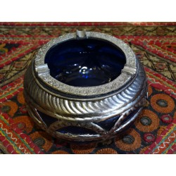 Ashtray glass and metal Blue