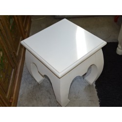 Stool opium 40x40 cm white patina.