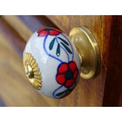Porcelain knobs small flower red