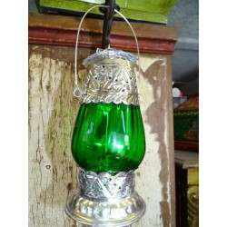 Table Lantern dark green candle.