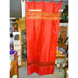 Taffeta curtains with double brocade - red
