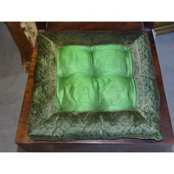 chair cushions edges in dark green brocade