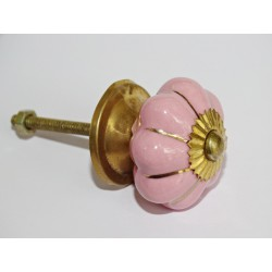 Pink 35mm Pink Button with Gold Lines