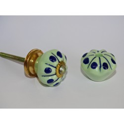 Small Furniture handle Green pumpkin with blue pitch