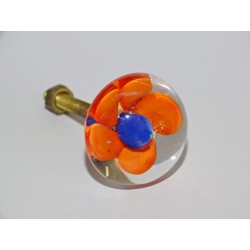 Furniture handle Transparent orange  flower