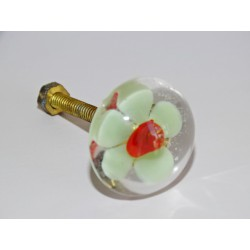 Furniture handle Transparent green flower
