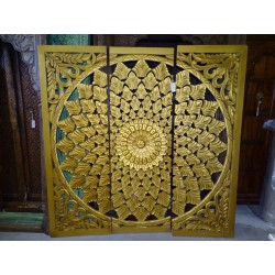 Decorative triptych / headboard 184x184 cm golden foliage