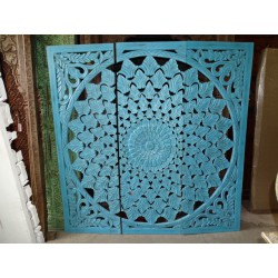Decorative triptych / headboard 184x184 cm turquoise foliage