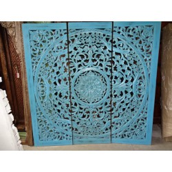 Decorative triptych / headboard 184x184 cm turquoise fresco