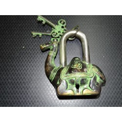 Indian padlock shaped green patinated camel