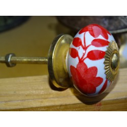 Porcelain flower drawer handle and red ferns