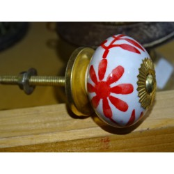Porcelain drawer handle large red flower