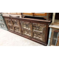 Large Indian buffet 4 old doors with clear patina