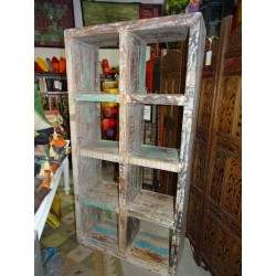 Large recycled teak shelf with five cubes