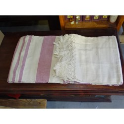 kerala pink and ecru pastel colored bedcover