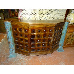 Bar counter in rosewood with two old turquoise pillars