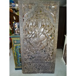 Large carved mango wood panel with the effigy of GANESH