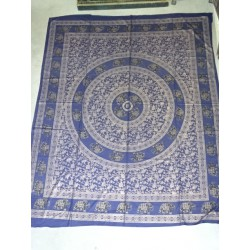 Cotton wall hanging or bedspread blue with golden elephants