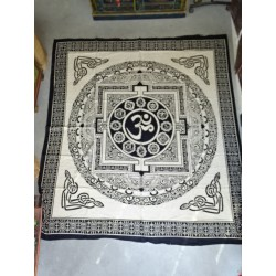 Wall hanging in cotton or bedspread in ecru and beige with mandala and OM