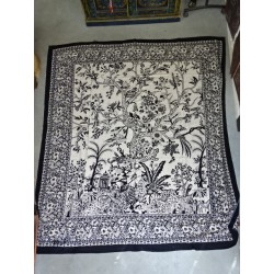 Cotton wall hanging or ecru and beige bedspread with tree of life