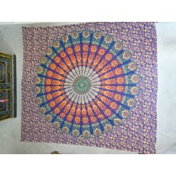 Hanging in cotton or flashy blue stained glass bedspreads