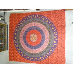 Cotton wall hanging or bedspread with red mandala