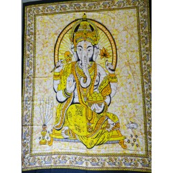 Hanging in cotton or bedspread with purple Ganesh