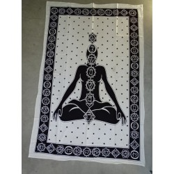 Cotton wall hanging or yoga mat with 7 green chakra