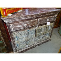 Indian buffet 2 old doors and 2 patinated tiroris multicolored