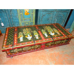 Trunk on wheels or Indian coffee table hand painted