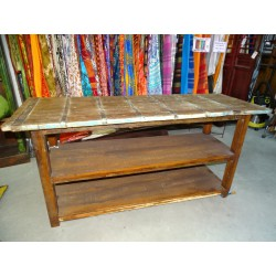 Indian console with an old teak top and metal hoop