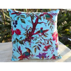 Velvet covers with turquoise bird of paradise