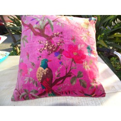 Cushion covers 40x40 cm velvet fuchsia with bird of paradise