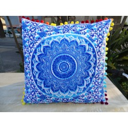 Cushion covers 40x40 cm ultramarine and turquoise color with pompoms