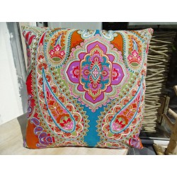 Cushion cover in 40X40 cm with multicolored kashmeer