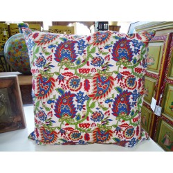 Pillow case 60X60 cm printed with red and green kashmeer